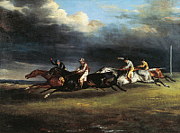 0306392 © Granger - Historical Picture ArchiveFINE ART.   Horse race at Epsom, 1821, by Theodore Gericault (1791-1824), oil on canvas, 91x122 cm. Full Credit: DEA / V. PIROZZI / Granger, NYC -- All rights reserved.
