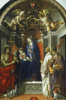 0306417 © Granger - Historical Picture ArchiveFINE ART.   Madonna and Child with Saints John the Baptist, Victor, Bernard and Zenobi, by Filippino Lippi (1457 ca- 1504). Full Credit: DEA / G. NIMATALLAH / Granger, NYC -- All Rights Reserved.