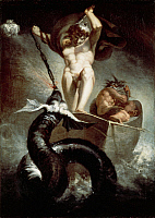 0306419 © Granger - Historical Picture ArchiveFINE ART.   Thor fighting the Midgard snake, 1788, by Johann Heinrich Fussli (1741-1825), oil on canvas, 131x91 cm. Full Credit: DEA PICTURE LIBRARY / Granger, NYC -- All rights re