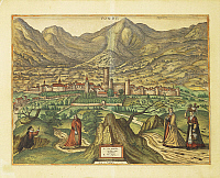0306537 © Granger - Historical Picture ArchiveFINE ART.   Cartography, Italy, 16th century. Map of Fondi, Lazio region. From Civitates Orbis Terrarum by Georg Braun (1541-1622) and Franz Hogenberg (1540-1590), Cologne. Engraving. Full Credit: DEA / R. MERLO / Granger, NYC -- All rights