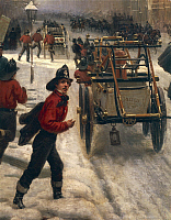 0306663 © Granger - Historical Picture ArchiveFINE ART.   Hippolyte Sébron (1801-1879). New York Street in 1840 covered with snow, 1855. Oil on canvas, 225x330 cm. Detail: Firemen. Full Credit: DEA / M. SEEMULLER / Granger, NYC -- All Rights Reserved.