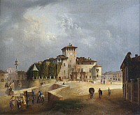 0306702 © Granger - Historical Picture ArchiveFINE ART.   The fortress of San Vitale in Fontanellato, by Giuseppe Alinovi (1811-1848), Italy 19th Century. Full Credit: DEA / G. CIGOLINI / Granger, NYC -- All rights reserved.