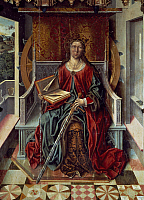 0306745 © Granger - Historical Picture ArchiveFINE ART.   Triptych of St Catherine, middle panel, by Fernando Gallego (active 1468-1507), panel. Full Credit: DEA PICTURE LIBRARY / Granger, NYC -- All rights reserved.