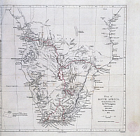 0306945 © Granger - Historical Picture ArchiveFINE ART.   History of Exploration, 19th century. Map tracing Livingstons travels in southern Africa between 1848 and 1856 by John Arrowsmith. Full Credit: DEA PICTURE LIBRARY / Granger, NYC -- All Rights Reserved.