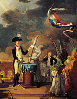 0307065 © Granger - Historical Picture ArchiveFINE ART.   France - 18th century. French Revolution. La Fayette (1757-1834) swears during the Feast of the Federation on July 14, 1790. Detail. Full Credit: DEA / G. DAGLI ORTI / Granger, NYC -- All rights reserved.