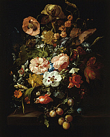 0307155 © Granger - Historical Picture ArchiveFINE ART.   Still Life with flowers and fruit, by Rachel Ruysch (1664-1750). Full Credit: DEA / G. NIMATALLAH / Granger, NYC -- All Rights Reserved.