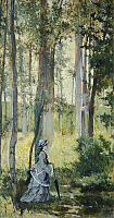 0307375 © Granger - Historical Picture ArchiveFINE ART.   Vallospoli, woman in the woods, ca 1875, by Giovanni Fattori (1825-1908), oil on wood, 33x19 cm. Full Credit: DEA / G. NIMATALLAH / Granger, NYC -- All rights reserved.