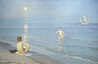 0307547 © Granger - Historical Picture ArchiveFINE ART.   Peder Severin Kroyer (1851-1909), Boys on the Seashore in a Summer Night at Skagen 1899. Full Credit: DEA / L. DOUGLAS / Granger, NYC -- All rights reserved.