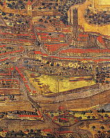 0307707 © Granger - Historical Picture ArchiveFINE ART.   Switzerland - Freiburg - 16th century. Map of the city. By Gregorius Sickinger (1558-1631), 1582. Detail: the area of the Cathedral. Full Credit: DEA / G. DAGLI ORTI / Granger, NYC -- All rights reserved.