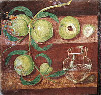 0307774 © Granger - Historical Picture ArchiveFINE ART.   Roman art. Still Life with a Peach Branch. Fresco from Pompei. Full Credit: DEA / G. NIMATALLAH / Granger, NYC -- All Rights Reserved.