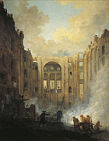 0307939 © Granger - Historical Picture ArchiveFINE ART.   Hubert Robert (1733-1808), Fire at the Palais Royale (Royal Palace), Paris, 1781. Full Credit: DEA / G. DAGLI ORTI / Granger, NYC -- All rights reserved.
