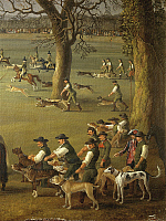 0308034 © Granger - Historical Picture ArchiveFINE ART.   Jakob Philipp Hackert (1737-1807), Ferdinand IV (1713-1759) Hunting Wild Boars in the Estate of Cassano. Detail. Full Credit: DEA / A. FOGLIA / Granger, NYC -- All righ
