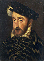 0308121 © Granger - Historical Picture ArchiveFINE ART.   Francois Clouet (ca. 1510-1572), Portrait of Henry II of France (Saint-Germain-en-Laye, 1519 - Paris, 1559), King of France (1547-1559), 31x25 cm. Detail. Full Credit: DEA PICTURE LIBRARY / Granger, NYC -- All rights reserved.
