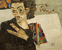 0308208 © Granger - Historical Picture ArchiveFINE ART.   Self-portrait with a black vase, 1911, by Egon Schiele (1890-1918), oil on canvas, 27.5x34 cm. Full Credit: DEA / A. DAGLI ORTI / Granger, NYC -- All rights reserved.