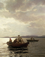 0308230 © Granger - Historical Picture ArchiveFINE ART.   Hans Fredrik Gude (1825-1903), Fishing in Christiania Fjord. Full Credit: DEA / A. DAGLI ORTI / Granger, NYC -- All Rights Reserved.