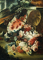 0308549 © Granger - Historical Picture ArchiveFINE ART.   Flowers and fruit in a landscape, painting by an unknown artist from the Piedmontese school, 18th century. Full Credit: DEA / G. NIMATALLAH / Granger, NYC -- All rights