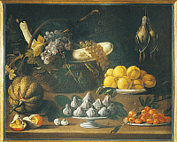 0308556 © Granger - Historical Picture ArchiveFINE ART.   School of Jacopo da Empoli (Jacopo Chimenti, 1551-1640), 17th century, Still Life with Fruits, Vegetables and Birds. Full Credit: DEA / G. NIMATALLAH / Granger, NYC -- All Rights Reserved.