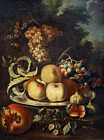 0308559 © Granger - Historical Picture ArchiveFINE ART.   Still life with fruit, by Christian Berentz (1658-1722). Full Credit: DEA / G. NIMATALLAH / Granger, NYC -- All Rights Reserved.