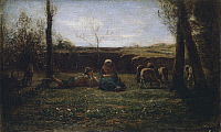 0308946 © Granger - Historical Picture ArchiveFINE ART.   Idyll, 1865, by Antonio Fontanesi (1818-1882), oil on canvas. Full Credit: DEA / U. MARZANI / Granger, NYC -- All Rights Reserved.
