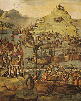 0309036 © Granger - Historical Picture ArchiveFINE ART.   Jacopo Ripanda (15th century - ca. 1516), Punic Wars: the Battle of Milazzo (260 b.C.), fresco. Full Credit: DEA / G. DAGLI ORTI / Granger, NYC -- All rights reserved.