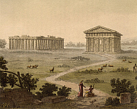 0309074 © Granger - Historical Picture ArchiveFINE ART.   View the Greek temples in Paestum (Italy) from Ancient and Modern Costumes (Il costume antico e moderno) by Giulio Ferrario (1767-1847), engraving, detail, 1827 19th century, Biblioteca Nazionale Braidense (Library), archaeology. Full Credit: DEA / A. DAGLI ORTI / Granger, NYC -- All rig