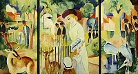 0309225 © Granger - Historical Picture ArchiveFINE ART.   Great zoological garden, triptych, 1912, by August Macke (1887-1914). Full Credit: DEA / E. LESSING / Granger, NYC -- All Rights Reserved.
