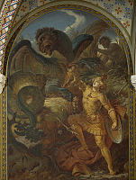 0309294 © Granger - Historical Picture ArchiveFINE ART.   Siegfried wielding the sword slays Fafner the dragon, from the cycle The Ring of the Nibelung, by Wilhelm Ernst Ferdinand Franz Hauschild (1827-1887). Neuschwanstein Castle, Fussen, Germany. Full Credit: DEA / A. DAGLI ORTI / Granger, NYC -- All Rights Reserved.