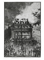0309524 © Granger - Historical Picture ArchiveFINE ART.   France, Paris, The Opera Comique theater destroyed by fire during the night of May 25, 1887 19th century, Bibliotheque-Musee De L'opera National De Paris-Garnier (Library). Full Credit: DEA PICTURE LIBRARY / Granger, NYC -- All Rights Reserved.