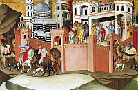 0309606 © Granger - Historical Picture ArchiveFINE ART.   The city of Siena, detail of the Adoration of the Magi, 1375-1385, by Bartolo di Fredi (1330-1410). Full Credit: DEA / G. DAGLI ORTI / Granger, NYC -- All rights reserv
