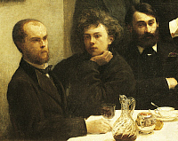 0309639 © Granger - Historical Picture ArchiveFINE ART.   Verlaine, Rimbaud and Bonnier, detail from Corner of a table, 1872, by Henri Fantin-Latour (1836-1904). Full Credit: DEA / G. DAGLI ORTI / Granger, NYC -- All rights re