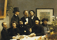 0309640 © Granger - Historical Picture ArchiveFINE ART.   A corner of the table or Group of poets around a table, 1872, by Henri Fantin-Latour (1836-1904). Full Credit: DEA / G. DAGLI ORTI / Granger, NYC -- All rights reserved