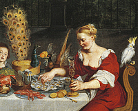 0309690 © Granger - Historical Picture ArchiveFINE ART.   Woman eating oysters, detail from An Allegory of the Four Elements, Jan Bruegel the Elder, Velvet Bruegel (1568-1625). Full Credit: DEA / G. DAGLI ORTI / Granger, NYC -- All Rights Reserved.