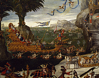 0310009 © Granger - Historical Picture ArchiveFINE ART.   The triumphant naval ship of the French Royal family, detail from L'Acqua, ca 1640, by Claude Deruet (1588-1660). Full Credit: DEA / G. DAGLI ORTI / Granger, NYC -- All Rights Reserved.
