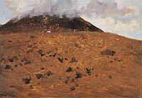 0310246 © Granger - Historical Picture ArchiveFINE ART.   On the slopes of Vesuvius, 1871, by Giuseppe de Nittis (1846-1884), oil on canvas, 13x17.5cm. Full Credit: DEA / A. DAGLI ORTI / Granger, NYC -- All rights reserved.