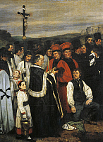 0310348 © Granger - Historical Picture ArchiveFINE ART.   A Burial at Ornans, 1849-1850, by Gustave Courbet (1819-1877). Detail. Full Credit: DEA / G. DAGLI ORTI / Granger, NYC -- All Rights Reserved.