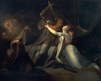 0310549 © Granger - Historical Picture ArchiveFINE ART.   Percival delivering Belisane from the enchantment of Urma, 1783, by Johann Heinrich Fussli (1741-1825), oil on canvas, 99x125 cm. Full Credit: DEA PICTURE LIBRARY / Granger, NYC -- All Rights Reserved.