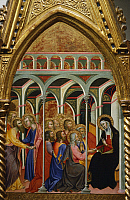 0310770 © Granger - Historical Picture ArchiveFINE ART.   Altarpiece with scenes of the Virgin: Mary's farewell to the apostles, by Bartolo di Fredi (1330-1410). Full Credit: DEA / G. DAGLI ORTI / Granger, NYC -- All rights re