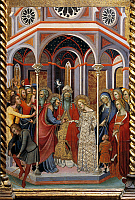 0310771 © Granger - Historical Picture ArchiveFINE ART.   The marriage of the Virgin, detail of the Altarpiece showing Stories of the Virgin, 1388, by Bartolo di Fredi (1330-1410). Full Credit: DEA / G. DAGLI ORTI / Granger, NYC -- All Rights Reserved.