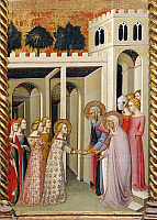 0310772 © Granger - Historical Picture ArchiveFINE ART.   The Virgin Mary with St Joachim and St Anne, detail of the Altarpiece showing Stories of the Virgin, 1388, by Bartolo di Fredi (1330-1410). Full Credit: DEA / G. DAGLI ORTI / Granger, NYC -- All rights reserved.