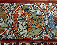 0310784 © Granger - Historical Picture ArchiveFINE ART.   Creation of the world, decoration from the Al Stavkirke (stave church), fresco. Norway, late 13th century. Full Credit: DEA / A. DAGLI ORTI / Granger, NYC -- All rights