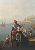 0310887 © Granger - Historical Picture ArchiveFINE ART.   Fishmonger, by Pietro Fabris (1740-1792), Italy 18th century. Detail. Full Credit: DEA / L. ROMANO / Granger, NYC -- All Rights Reserved.
