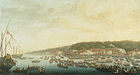 0310895 © Granger - Historical Picture ArchiveFINE ART.   Procession of the Royal Ships at Posillipo, Naples, by Pietro Fabris (1740-1792), Italy 18th century. Full Credit: DEA PICTURE LIBRARY / Granger, NYC -- All rights rese