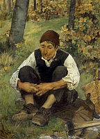 0310923 © Granger - Historical Picture ArchiveFINE ART.   The woodcutter,ca 1885, by Egisto Ferroni (1835-1912), oil on canvas, 121x89 cm. Full Credit: DEA / N. GRIFONI / Granger, NYC -- All rights reserved.