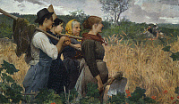 0310925 © Granger - Historical Picture ArchiveFINE ART.   In the fields, 1881, by Egisto Ferroni (1835-1912), oil on canvas, 121x200 cm. Full Credit: DEA / N. GRIFONI / Granger, NYC -- All rights reserved.