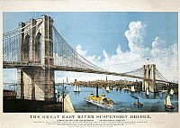 0311130 © Granger - Historical Picture ArchiveFINE ART.   United States of America, 19th century. Brooklyn Bridge in New York. Colored lithograph, 1886. Full Credit: DEA / A. DAGLI ORTI / Granger, NYC -- All rights reserved.