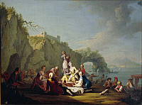0311504 © Granger - Historical Picture ArchiveFINE ART.   Pietro Fabris (1740-1792), Nobles lunching in front of the cave. Full Credit: DEA / G. DAGLI ORTI / Granger, NYC -- All Rights Reserved.