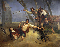 0311988 © Granger - Historical Picture ArchiveFINE ART.   A family saved from flooding of The Serchio in 1843, 1845, by Enrico Pollastrini (1817-1876), oil on canvas, 231x293 cm. Full Credit: DEA / BARDAZZI / Granger, NYC -- All Rights Reserved.