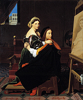 0312432 © Granger - Historical Picture ArchiveFINE ART.   Raphael and the Fornarina, 1811-1812, by Jean Auguste Dominique Ingres (1780-1867), oil on canvas. Full Credit: DEA PICTURE LIBRARY / Granger, NYC -- All rights reserve