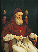 0312479 © Granger - Historical Picture ArchiveFINE ART.   Portrait of Pope Julius II, 1443-1513, by Raphael Sanzio (1483-1520), oil on wood, c1512, 108,7x80 cm. Full Credit: DEA / G. DAGLI ORTI / Granger, NYC -- All rights res