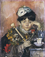 0312589 © Granger - Historical Picture ArchiveFINE ART.   Child with a Mask, by Antonio Mancini (1852-1930). Full Credit: DEA / BARDAZZI / Granger, NYC -- All rights